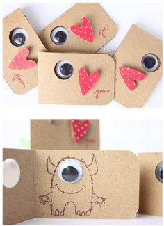 Monsters valentine's card, heart, eye love you. Monsters valentine's card, heart, eye love you. Birthday Invitations Kids, Birthday Cards, Diy Invitations, Diy Birthday, Invitation Ideas, Invitation Cards, Diy And Crafts, Crafts For Kids, Valentine Day Crafts