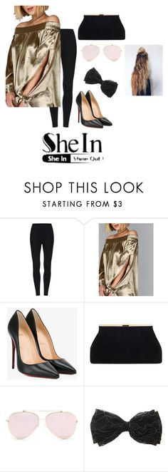 """""""Hot Shiny Gold Top~"""" by the-symptoms-of-being-human ❤ liked on Polyvore featuring Christian Louboutin"""