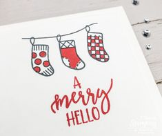 You will not believe how adorable these easy DIY Christmas cards are! Three stamps, two ink pads, one color card stock, 5 minutes - DONE! Christmas Projects, Holiday Crafts, Christmas Diy, Stamped Christmas Cards, Ink Pads, Free Paper, Color Card, Your Cards, Stamping