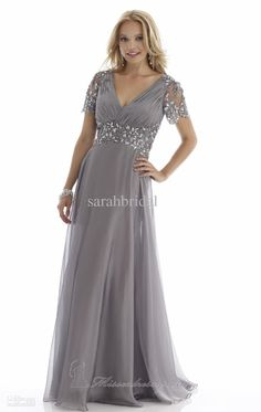 Wholesale Plus Size 2014 Elegant Mother Of Bridal Suits Dresses Dress With Short Sleeves Chiffon Grey Champagne V Neck Ruffles Wedding Groom Gowns, Free shipping, $111.96/Piece   DHgate Mobile