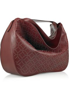 Alaia merlot studded leather hobo bag
