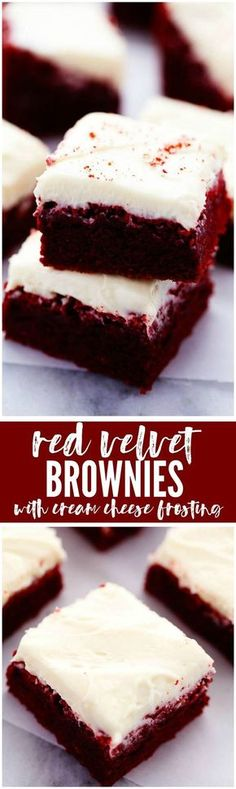 Velvet Brownies with Cream Cheese Frosting These are the BEST red velvet brownies and the cream cheese frosting on top is AMAZING! These are the BEST red velvet brownies and the cream cheese frosting on top is AMAZING! Just Desserts, Delicious Desserts, Dessert Recipes, Yummy Food, Frosting Recipes, Cupcake Recipes, Oreo Dessert, Dessert Bars, Food Cakes