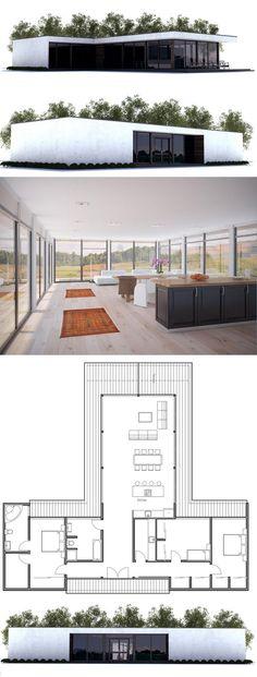 Simple modern minimalist home plan