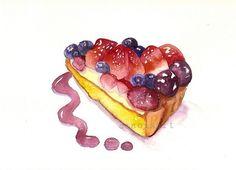 Berries and Cream Cake Slice - Original Watercolor Painting - Sweet Kitchen Food Art. $40.00 USD, via Etsy.