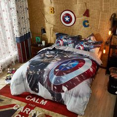 Captain America Marvel Comics Bed in a Bag Twin Queen Size Set | Super Heroes Bedding