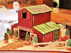 This holiday barn features tips for recycling. See more at Shannon Berrey Designs. Gingerbread House Designs, Gingerbread House Parties, Gingerbread Decorations, Christmas Gingerbread House, Gingerbread Man, Gingerbread Cookies, Christmas Cookies, Christmas Decorations, Gingerbread Recipes