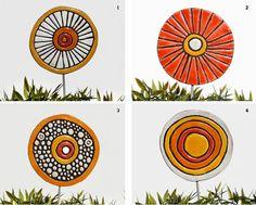 garden art stakes 3 large  abstract garden decor  by TORIART, €45.00