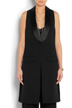 Givenchy - Vest In Black Satin-trimmed Wool-crepe - FR40