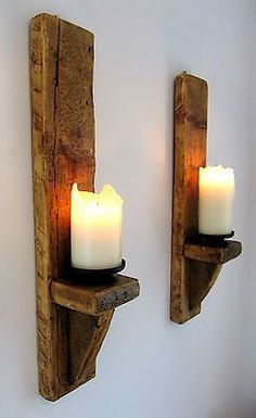 2x large 60cm #rustic #solid wood handmade shabby chic wall sconce #candle holder, View more on the LINK: http://www.zeppy.io/product/gb/2/261685537640/