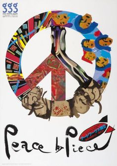 Studio Give, Peace by piece - GGG - Ginza Graphic Gallery, 1988. Japan. Via Museum für Gestaltung, Zürich.  Sayonara! Today is the annual Japan Day in Düsseldorf, the peaceful place to be for cosplayers and friends of Japanese Culture & Fireworks.