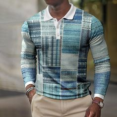 BrosWear Fashion Color Block Printed Long Sleeve Polo Shirt Long Sleeve Polo, Long Sleeve Shirts, Couture, Business Casual, Shirt Style, Casual Shirts, Men Sweater, Man Shop, Mens Tops