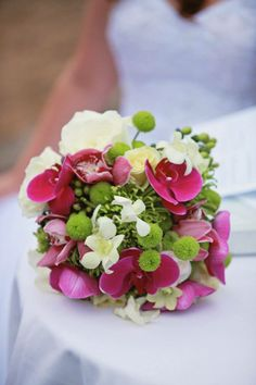 pink and white orchids, green button mums, white lizzy White Orchids, Green Button, Bouquet, Weddings, Pink, Bouquet Of Flowers, Mariage, Bouquets, Wedding