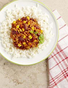 Chili con carne (Colruyt) Rice Noodles, Vegetables, Kids Crafts, Kitchen, Chili Con Carne, Tomato Paste, Onion, Pork, Rice