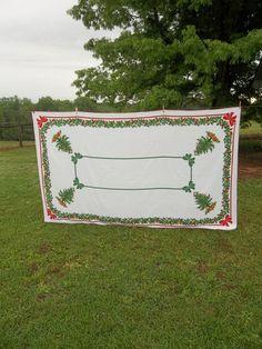 Vintage Christmas Tablecloth 64x80 Oval Table Cloth Holiday Decor Farmhouse  Christmas Decorations