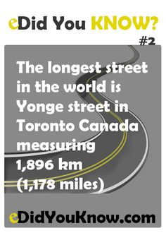 The longest street in the world is Yonge street in Toronto Canada measuring 1,896 km (1,178 miles).