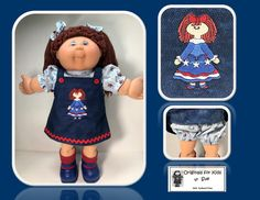 """Cabbage Patch Kids """"Originals for Kids by Sue"""" - aka Hudson, Massachusetts. I handcraft unique outfits. New Embroidery Designs, French Knot Embroidery, Machine Embroidery Applique, Etsy Embroidery, Cabbage Patch Kids Dolls, Embroidery Techniques, Jumper Outfit, Kids Girls, Originals"""
