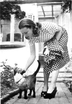 That dress, those shoes, PLUS a beautiful Siamese.   women and cats: vivien leigh