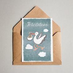Cartes de voeux dessinées, mises en page et imprimées en Alsace. #carte #cartedevoeux #felicitations #naissance #bleu #bébé #baby #papeterie #aquarelle #alsace #juliebellule