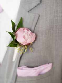 Peony boutonniere.  (Design by Lee Forrest Designs, photo by: Liga Photography)
