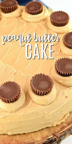 This easy Reese's Peanut Butter Cake is so moist and delicious. The peanut butter frosting is fluffy and creamy. You can whip this up for the peanut butter lovers in your life and they will love you forever. Peanut Butter Buttercream Frosting Recipe, Peanut Butter Sheet Cake, Peanut Butter No Bake, Peanut Butter Desserts, Reeses Peanut Butter, Köstliche Desserts, Best Dessert Recipes, Cupcake Recipes, Baking Recipes