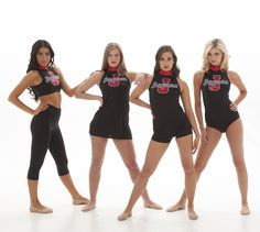 Black Uniforms with red logo- dress, biketard, leotard and crop top- edgy but classy. Perfect gameday uniforms for a highschool or college dance team, or cheer team!