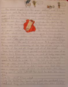 My 7th period class (which is a group of my 7th graders) has a morbid sense of story.  We just finished a unit on writing descriptive vignettes, and a lot of them practiced gory storytelling skills in their writer's notebook.  Here, 7th grader Sarah created a horrific tale about my student aide during seventh period--Elias--not using my paper-cutter carefully.  Don't worry--the story never happened--pure fiction. Elias will think this story is quite funny when I send him a link through…