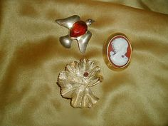 Vintage Sterling Dove Red Pear-Cut Glass Stone Cameo Ladybug Gold Leaf Figural Brooch Collection Lot