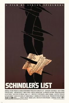Schindler's List - A rare alternate Saul Bass design. Saul Bass designed this poster for Schindler's List but the studio opted not to use it. It is reported that 200 were printed and distributed to studio insiders. West Side Story, Mark Rothko, Saul Bass Posters, Movie Posters, Cinema Posters, Schindlers Liste, Thor, Super 8, Oscar Winning Films