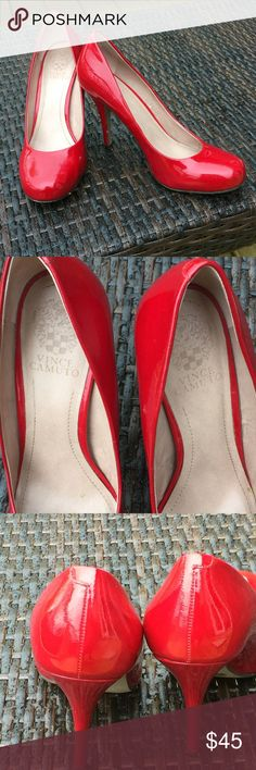 "Vince Camuto Stilettos Red patent Stilettos with 4"" heels. Excellent condition-worn once. Clean and s great color of red. Vince Camuto Shoes Heels"