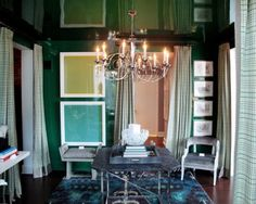 Kips Bay 2012 - Thom Filicia opted for a unique paint treatment for his space, covering both the walls and ceiling in a lacquer-like green paint. Though the room opens onto two other spaces, Filicia gave it a sense of intimacy with custom drapery.