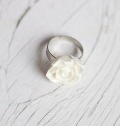 White Glossy Flower Ring . Adjustable . Romantic . Statement ring . Bridal. $9.00, via Etsy.