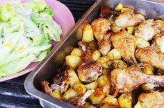 Cocina para cada día. Pollo al horno con tomillo y patatas súper fácil.
