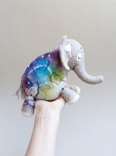 Kasi - Felt Elephant, Puppet, Art Toy, Felted Animal, Stuffed Toy, Felt Toy. beige, violet, blue, green. SPECIAL ORDER for Nancy.