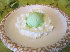 Mint Ice Cream and Whipped Cream for Dr Seuss Green Eggs & Ham
