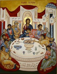 Last Supper by Aleksandra Spasic Christian Images, Christian Art, Religious Icons, Religious Art, Holy Thursday, Russian Icons, Byzantine Icons, Eucharist, Last Supper