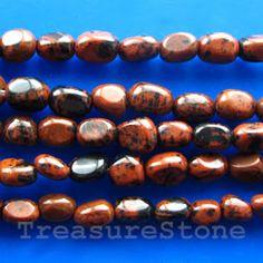 #Bead, mahogany obsidian, 8mm nugget. #TreasureStone Beads Edmonton.