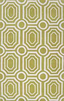 Mossy green midcentury modern rug by Angelo Surmelis in durable synthetic yarn.