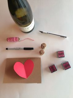 Materials needed for this DIY Valentine's Card project and DIY cork stamp.