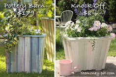 Pottery Barn Reclaimed Wood Planter (Tutorial).. made with plywood and paint stirrers!