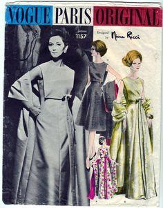 Vintage 1962 Vogue Paris Original 1157 Nina Ricci Sewing Pattern Misses One-Piece Dress and Stole