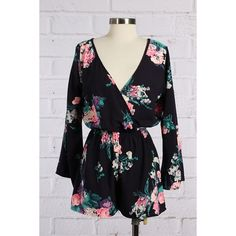 Floral Navy Blue Romper Super cute romper! Bought it on Poshmark but it was a little too small for me. Please note it fits on the smaller side! Pants Jumpsuits & Rompers