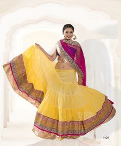 Buy   Stylish Light Yellow, Creamy and  Pink Shade lehenge With Classy Pink Duptta. This  Admix Exclusive Handwork Lehenga is adorned  with Multi-ColorShaded and patch work. Yellow color give it a grase look. To shop it now click on http://jugniji.com/ and www.facebook.com/jugniji.fashions/