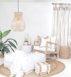 natur interior Our Bahama Rocking Chair and Marley linen slipcover Ottoman is a perfect combination for any natural living room or a cosey nursery! Also featuring Bindu Basket Nadi slipcover Stool amp; beautiful villasalise cushions and magazine holder. Living Room Decor, Bedroom Decor, Living Rooms, Living Spaces, Rattan Lamp, Rattan Furniture, Funky Home Decor, Style Deco, Scandinavian Living
