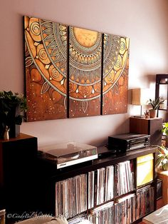 Just hung the latest triptych mandala for a mini photo shoot before sending it off to it's new home in Switzerland, hopefully later this week! :)   Mixed Media on Canvas 18x36 inches/panel  ©CindyBelseth2014 WhiteVioletArt.com
