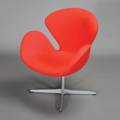 Arne Jacobson Red Swan Chair #michaans #midcenturymodern http://www.michaans.com/events/2014/auct_11062014-b.php