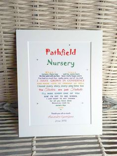 Preschool goodbye gift - leaving Nursery a 10x8 mounted print available in other colours personalised with the nursery and your child's name