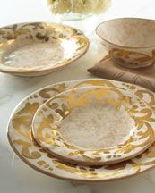 "It is certainly Splendid, beautiful and elegant.    http://www.neimanmarcus.com  OperaNova ""Splendidus"" Dinnerware  Exclusively ours. Beautifully irregular dinnerware pieces are hand painted with a leafy border.        Handcrafted of ceramic with a hand-painted design.      Hand wash only.      Chip resistant.      Made in Italy."