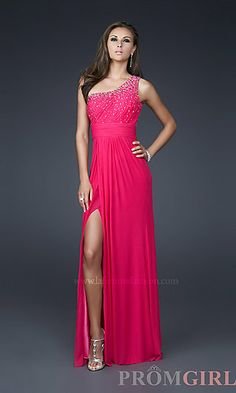 Beaded One Shoulder Evening Gown at PromGirl.com