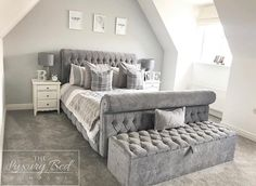 Lyon Chesterfield - grey plain velvet - button detail with the matching ottoman box 👌🏼 . Grey Bedroom Design, Grey Bedroom Decor, Stylish Bedroom, Room Ideas Bedroom, Home Bedroom, Luxury Home Decor, Luxurious Bedrooms, My New Room, Luxury Bedding