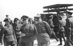 Inspecting 21st Panzer Division troops and a mule track carrier of the Nebelwerfer.